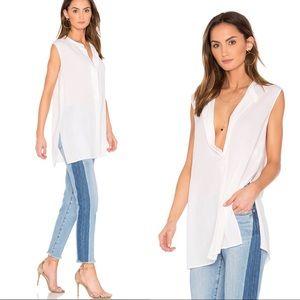 Vince Split Side Slit Silk Tunic in White